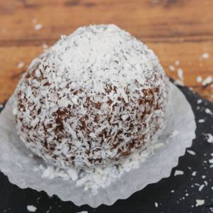 coconut ball with sour cherry